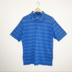 Nike Tiger Woods Blue Striped Golf Polo Shirt M